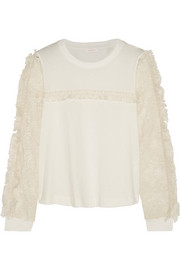 Crochet-paneled cotton-jersey top