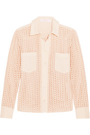 See by Chloé Stretch crepe-trimmed guipure lace shirt