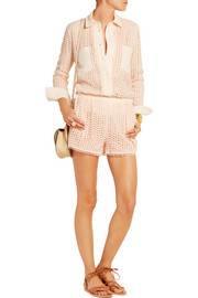 Stretch crepe-trimmed guipure lace shirt