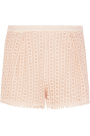 See by Chloé Stretch crepe-trimmed guipure lace shorts