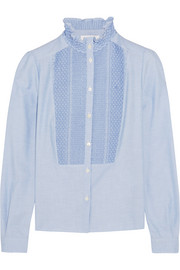 Smocked cotton-chambray shirt
