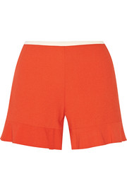 Fluted stretch-crepe shorts