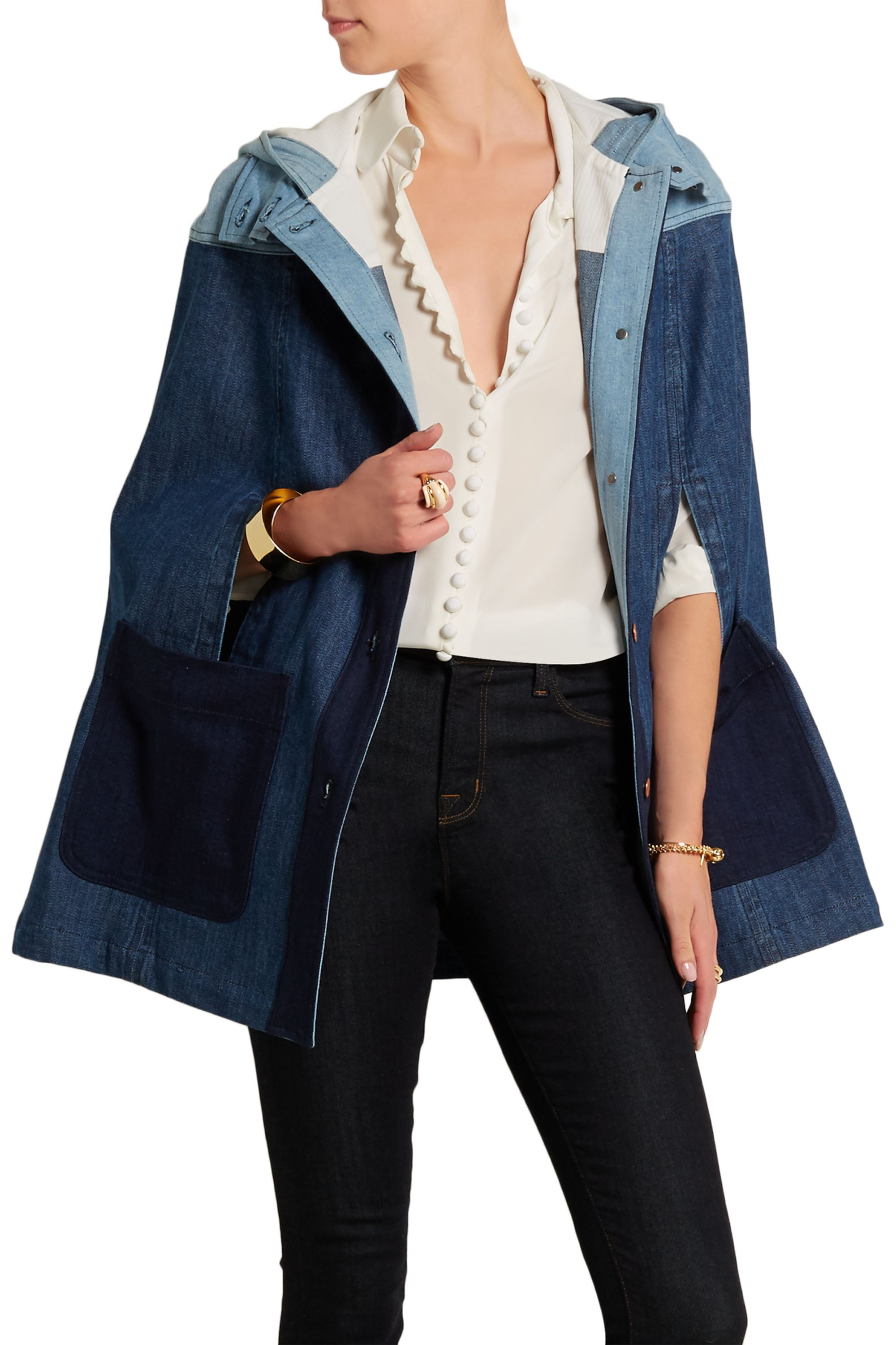 See By Chloé Hooded patchwork denim cape