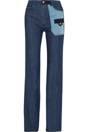 Patchwork high-rise flared jeans