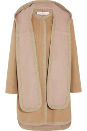 Hooded wool-blend coat