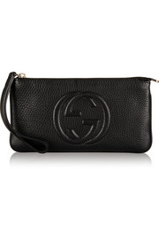 Soho textured-leather wristlet pouch
