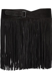 Fringed suede belt