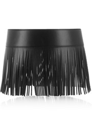 Fringed leather waist belt