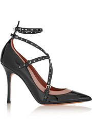 Valentino Love Latch eyelet-embellished patent-leather pumps