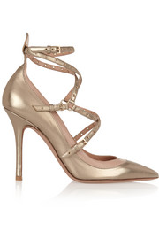 Valentino Love Latch eyelet-embellished metallic leather pumps