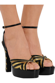 Metallic striped leather platform sandals