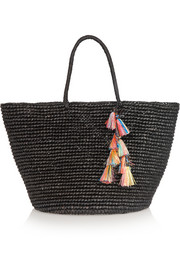 Maxi tasseled woven toquilla straw tote