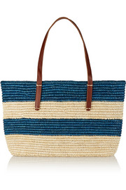 Striped leather-trimmed woven toquilla straw tote