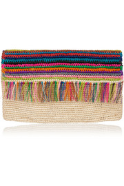Woven toquilla straw clutch
