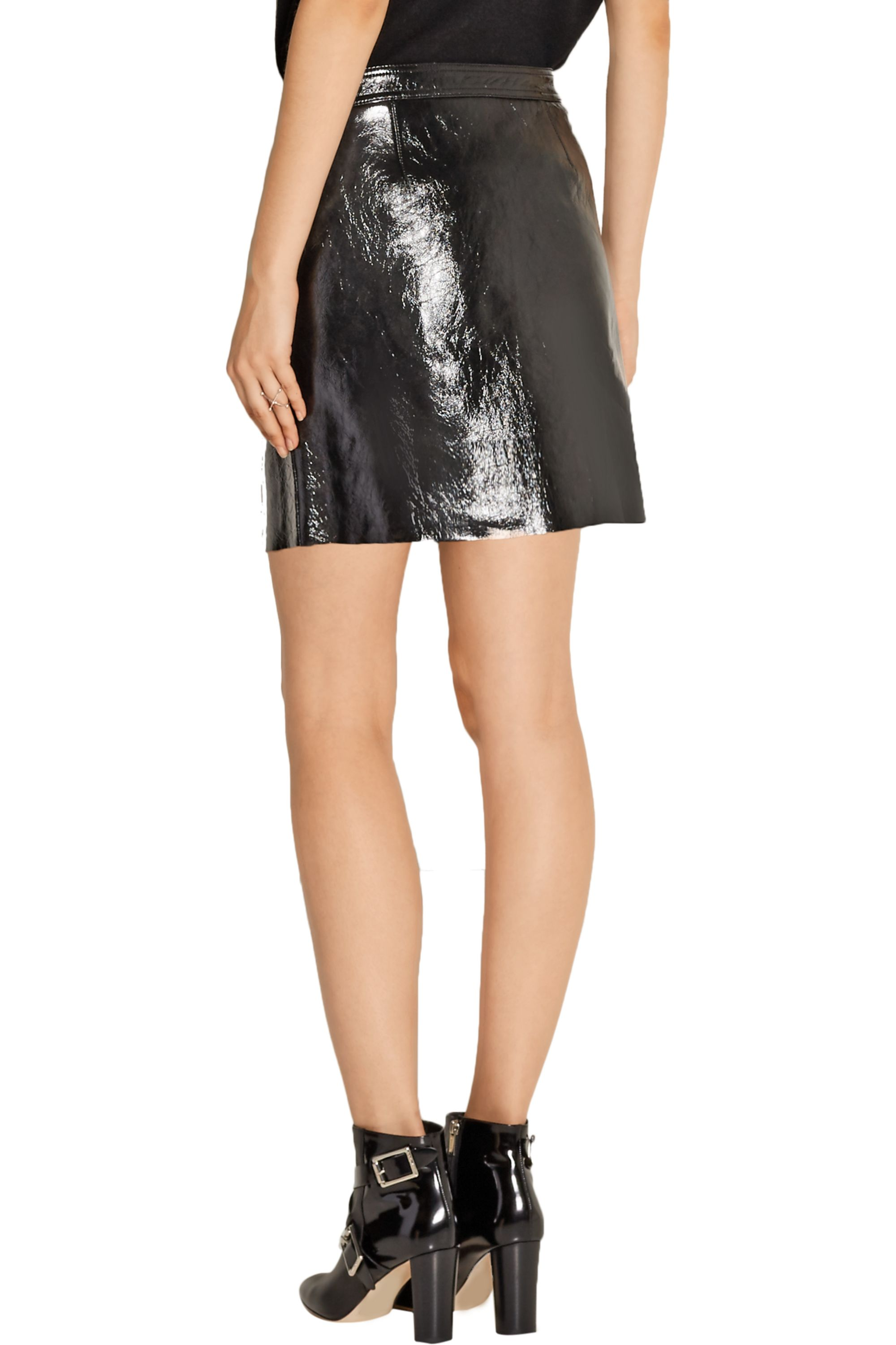 Theory Berdin suede-trimmed patent-leather mini skirt