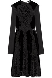 Dress in black devoré-chiffon, velvet and jersey