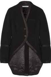 Jacket in satin-trimmed black wool