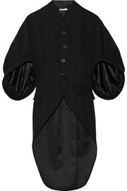 Coat in black grain de poudre wool