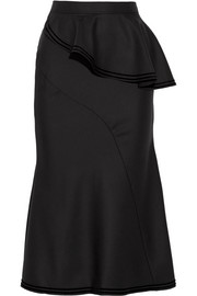 Skirt in velvet-trimmed black wool