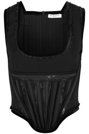 Corset in velvet-trimmed black wool
