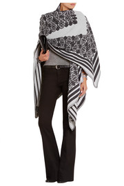 Jacquard-knit wool and cashmere wrap