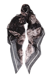 Alexander McQueen Creased Roses printed silk-chiffon scarf