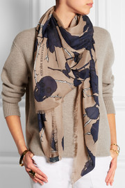 Nest of Roses printed modal and silk-blend scarf