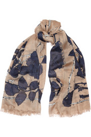 Alexander McQueen Nest of Roses printed modal and silk-blend scarf