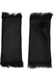 Shimmer shearling fingerless gloves