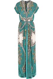Printed silk crepe de chine maxi dress