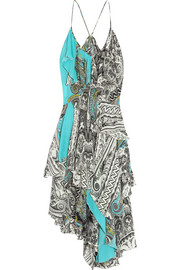 Ruffled printed silk crepe de chine dress