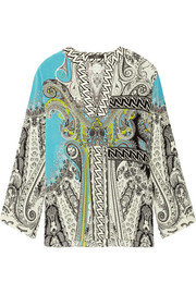 Printed silk crepe de chine top