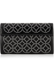 Arabesque mini embellished leather clutch