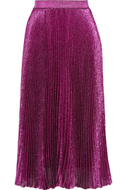 Pleated silk-blend lamé skirt