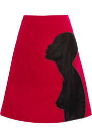Appliquéd cotton-blend velvet skirt
