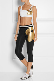 Cynthia Rowley Cropped printed stretch-jersey leggings