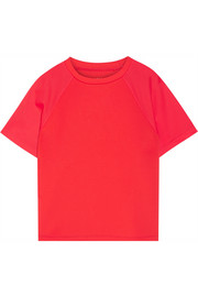 Mesh-paneled stretch-scuba jersey T-shirt