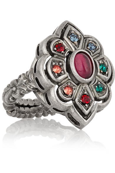 f1c9d0649 Gucci | Palladium-plated Swarovski crystal flower ring | NET-A ...