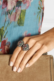 Gucci Palladium-plated Swarovski crystal flower ring
