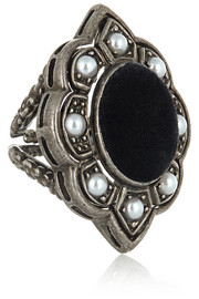 Palladium-plated, faux pearl and velvet ring