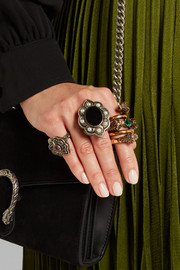 Gucci Palladium-plated, faux pearl and velvet ring