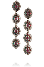 Palladium-plated Swarovski crystal clip earrings