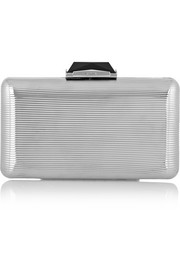Espey embossed silver-tone box clutch