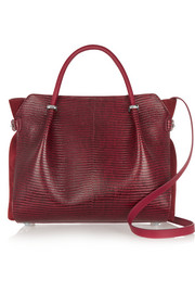 Marché small lizard-effect leather and suede tote