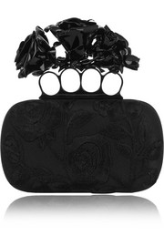 Roses Knuckle embroidered tulle and satin clutch