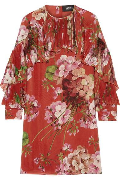 Gucci - Floral-print Silk-georgette Mini Dress - Brick