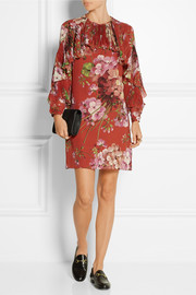 Printed silk-georgette mini dress