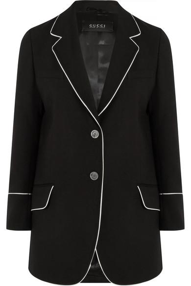 Gucci - Silk-trimmed Wool-twill Blazer - Black