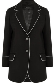 Silk-trimmed wool-twill blazer