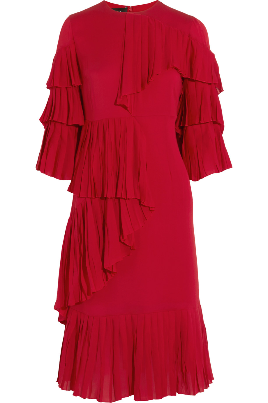 Gucci Ruffled Silk-Georgette Dress, Red, Women's, Size: 42